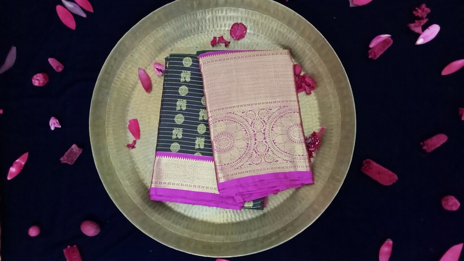 Walnut brown and blottle green shaded straight lines saree with pink border