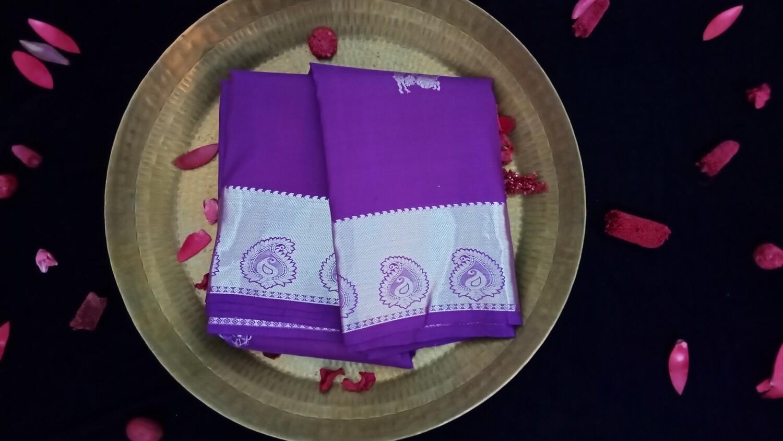 Violet pure kanchi saree with silver zari border