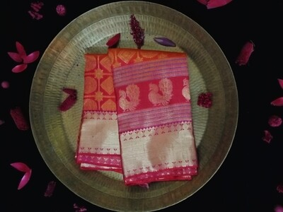 Orange pink checks kanchi saree with zari pink red border
