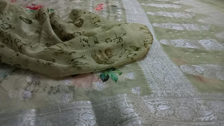 Pista green Georgette with silver zari border