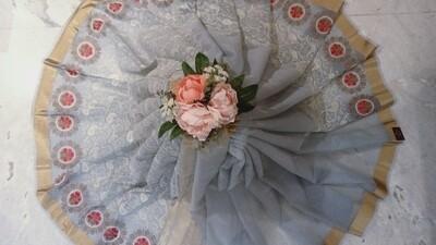Grey shade blue lwnin with thread woven