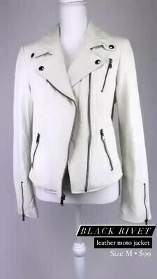 Black Rivet, Leather Moto Jacket, Size M