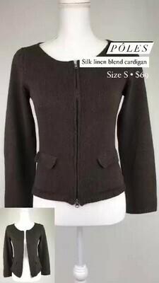 Póles, Silk Linen Blend Cardigan, Size S