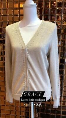 Grace, Lurex Knit Cardigan, Size 2
