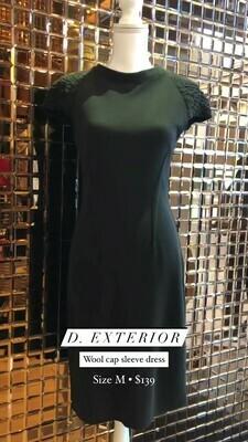D. Exterior, Wool Cap Sleeve Dress, Size M