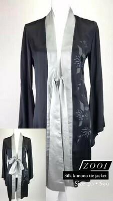 Zooi, Silk Kimono Tie Jacket, Size 40