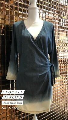 7 For All Mankind, Drape Denim Dress, Size S
