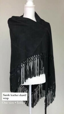 Suede Leather Shawl/Wrap, One Size