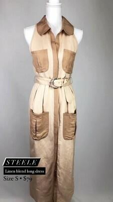 Steele, Linen Blend Long Dress, Size S