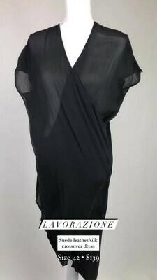Lavorazione, Suede Leather/Silk Dress, Size 42