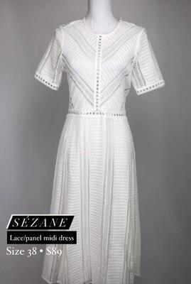 Sézane White Lace Panel Midi Dress