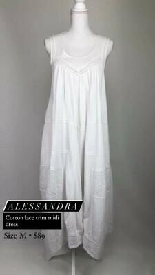 Alessandra, Cotton Lace Trim Midi Dress, Size M