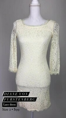 Diane Von Furstenberg, Lace Dress, Size 2