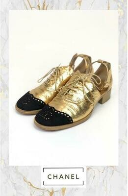 Chanel, Gold Leather Brogues, Size 39