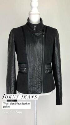 DKNY Jeans, Wool Blend/Faux Leather Jacket, Size S