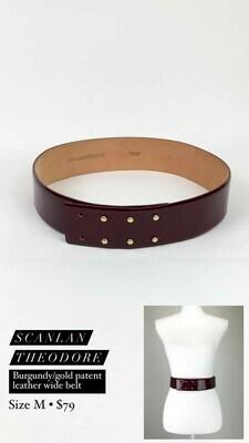 Scanlan Theodore, Burgandy/Gold Patent Leather Wide Belt, Size M