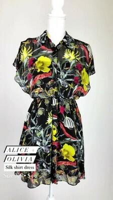 Alice + Olivia, Silk shirt Dress, Size XS