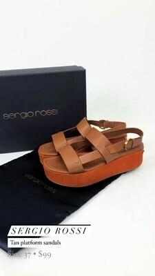 Sergio Rossi, Tan Platform Sandals, Size 37