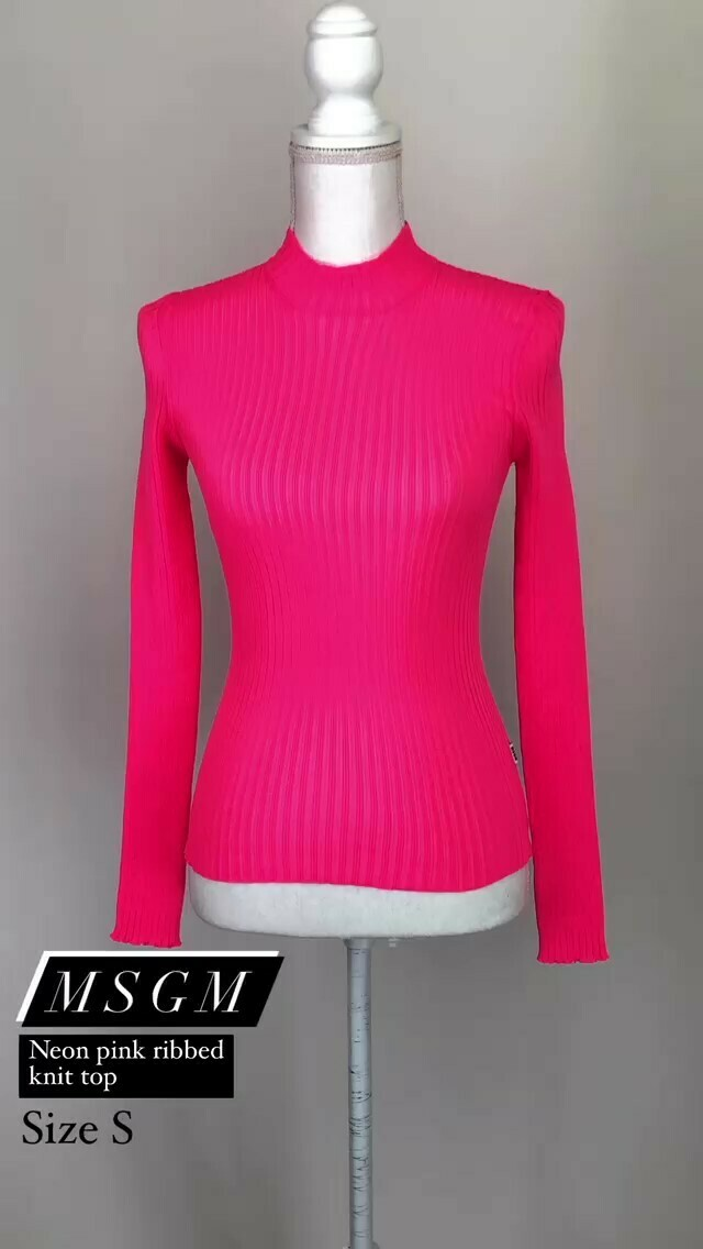 MSGM, Neon Pink Ribbed Knit Top, Size S