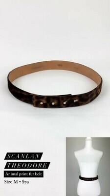 Scanlan Theodore, Animal Print Fur Belt, Size M