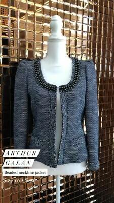 Arthur Galan, Beaded Neckline Jacket, Size 10