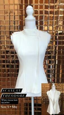 Scanlan Theodore, White Viscose Knit Zip Jacket, Size S