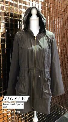 Jigsaw, Brown Hooded Parka Coat, Size S