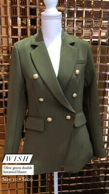 Wish, Olive Green Double Breasted Blazer, Size 10