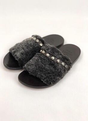 Calleen Cordero Slides, Black/Grey, Size 8.5