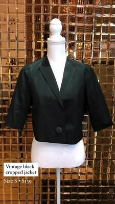 Vintage Black Cropped Jacket, Size S