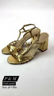 P&M, Gold Sandals, Size 38