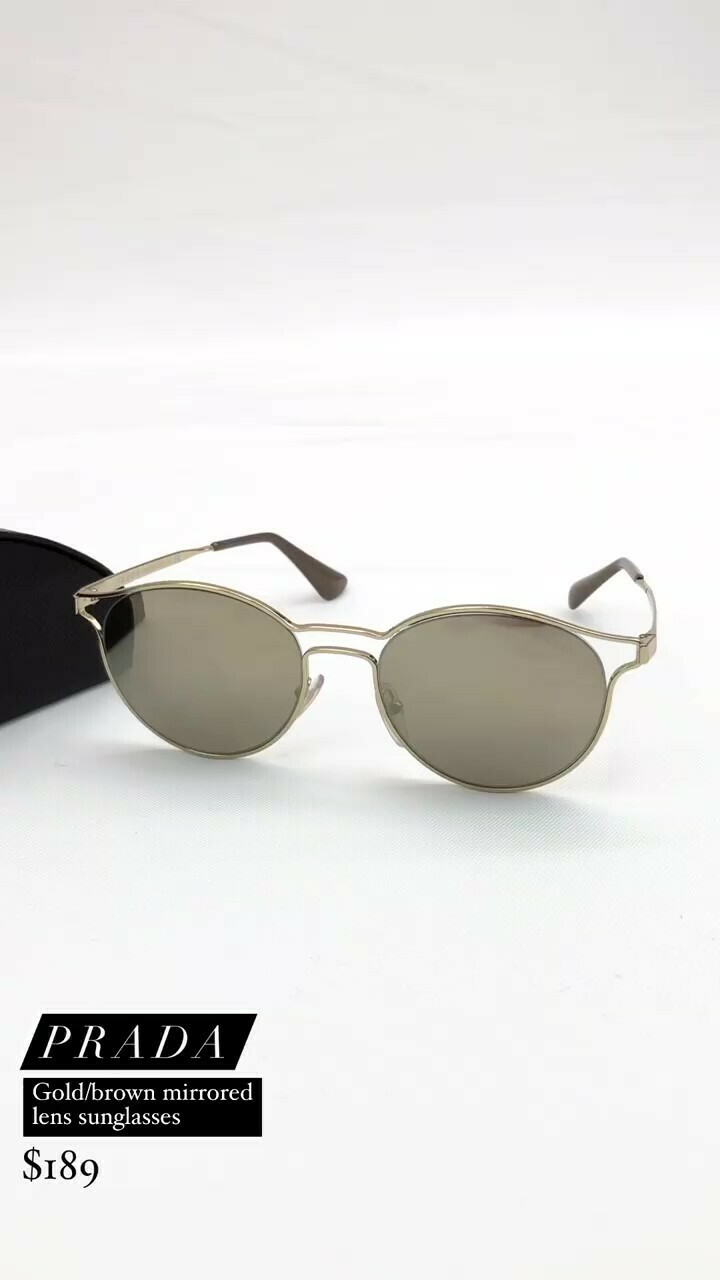Prada, Gold/Brown Mirrored-Lens Sunglasses