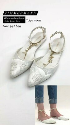 Zimmermann, White Embroidered Chain Front Flats, Size 39