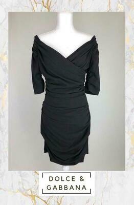 Dolce & Gabbana, Black Ruched Mini Dress, Size 44