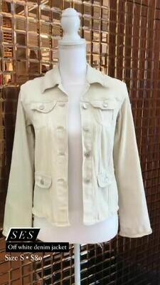 SES, Off White Denim Jacket, Size S