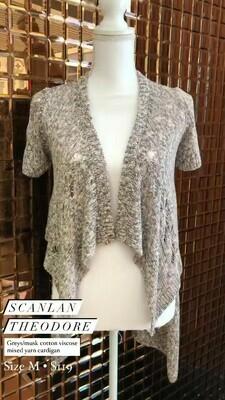 Scanlan Theodore, Grey/Musk Cotton Viscose Mixed Yarn Cardigan, Size M