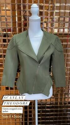 Scanlan Theodore, Green Cropped Cross Jacket, Size 8