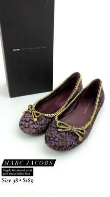Marc Jacobs, Purple Fur Animal Print Gold Chain Ballet Flats, Size 38