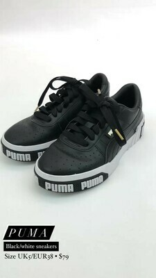 Puma, Black/White Sneakers, Size UK5/EUR38