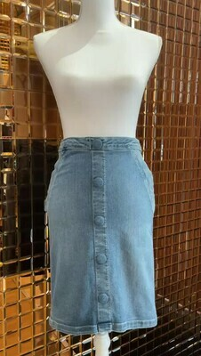 Frame, Denim Blue Denim Skirt With Button Front Detail, Size 26