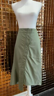 Theory, Khaki Green Asymmetrical Side Godet Skirt, Size US4