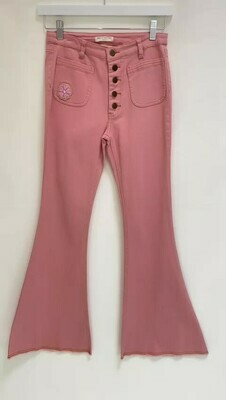 Spell & The Gypsy, Pink Flare Leg Denim Pants, Size XS