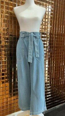 Pepe, Jeans Blue Elasticated Waist Crop Denim Pants W/ Tie Belt, Size 11