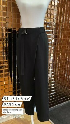 By Malene Birger, Black Crossover Pants With Belt, Size 34