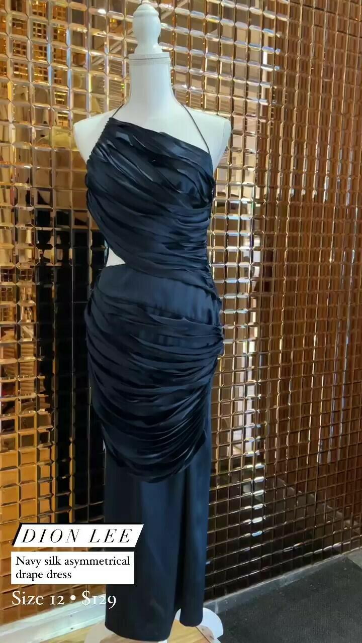 Dion Lee, Navy Silk Asymmetrical Drape Dress, Size 12
