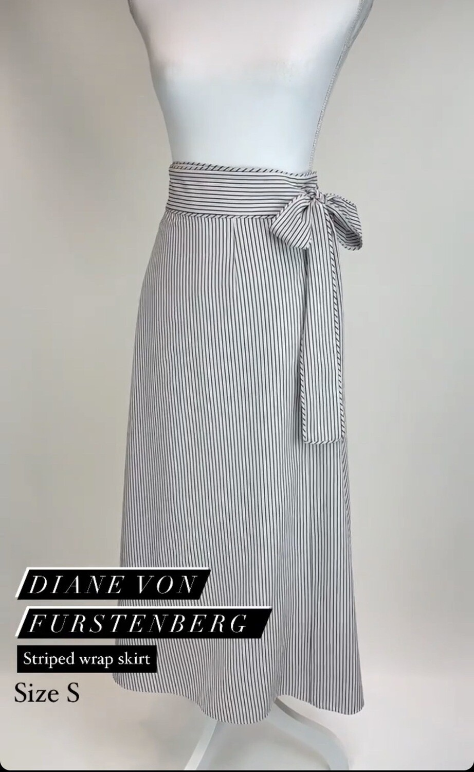 Diane Von Furstenberg, Striped Wrap Skirt, Size S