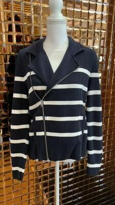 Ralph Lauren, Navy/White Stripe Cotton Jacket Cardigan, Size L
