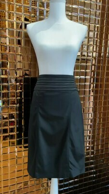 Burberry, Black Pleat Waistband Skirt, Size UK10