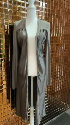 Manila Grace, Olive Silk Blend Long Cardigan With Jersey Sleeves, Size S