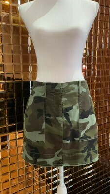 Nili Lotan, Green Military Print Mini Skirt, Size US4